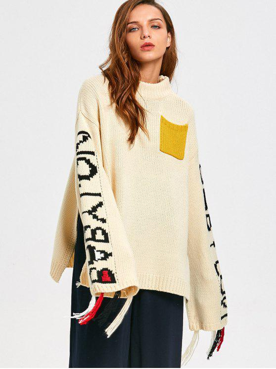 sale Letter Oversized Mock Neck Sweater - OFF-WHITE ONE SIZE