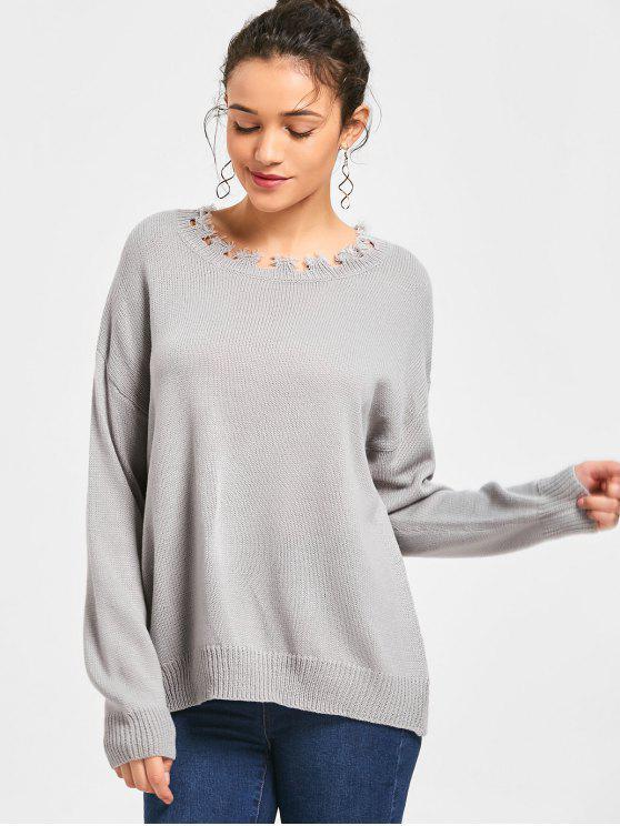 Distressed Tunic Pullover - Grau Eine Größe