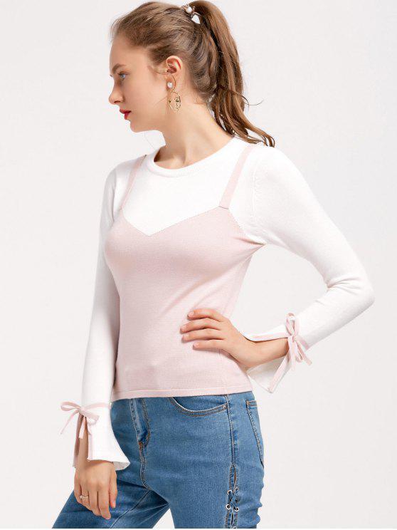 Flare Hülse Schleifedetail Zwei Farben Pullover - Pink Eine Größe
