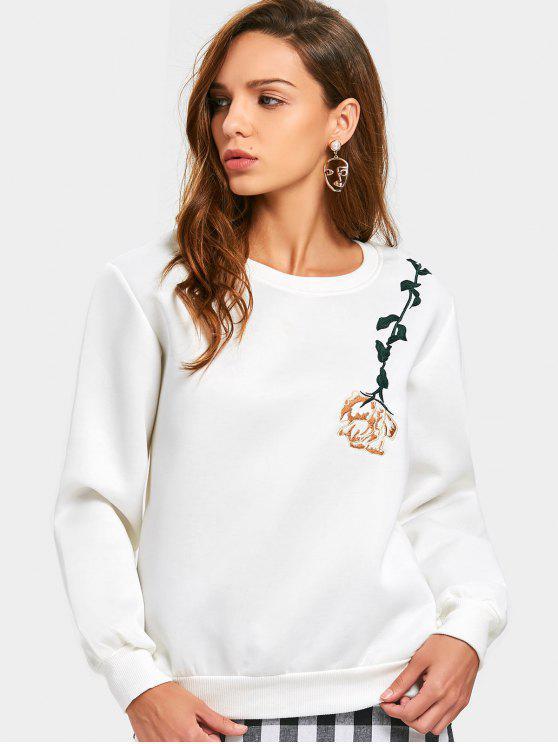 Sweatshirt mit Rundhalsausschnitt und Blumen Patch - Weiß XL