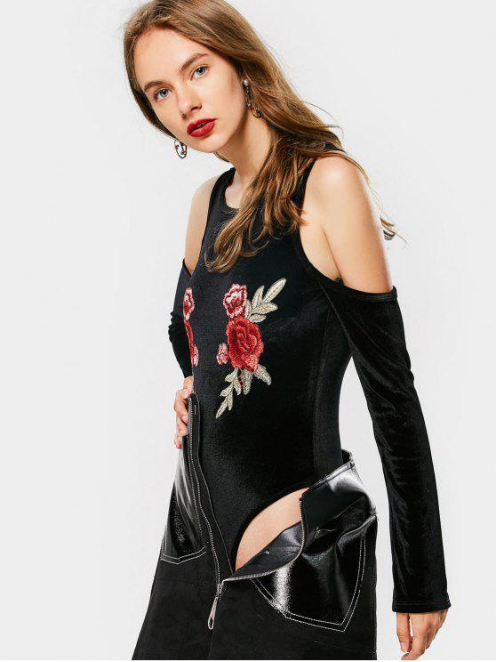 Body manga longa ombro de fora com bordado floral - Preto XL