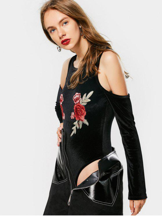 fashion Floral Embroidered Cold Shoulder Bodysuit - BLACK M