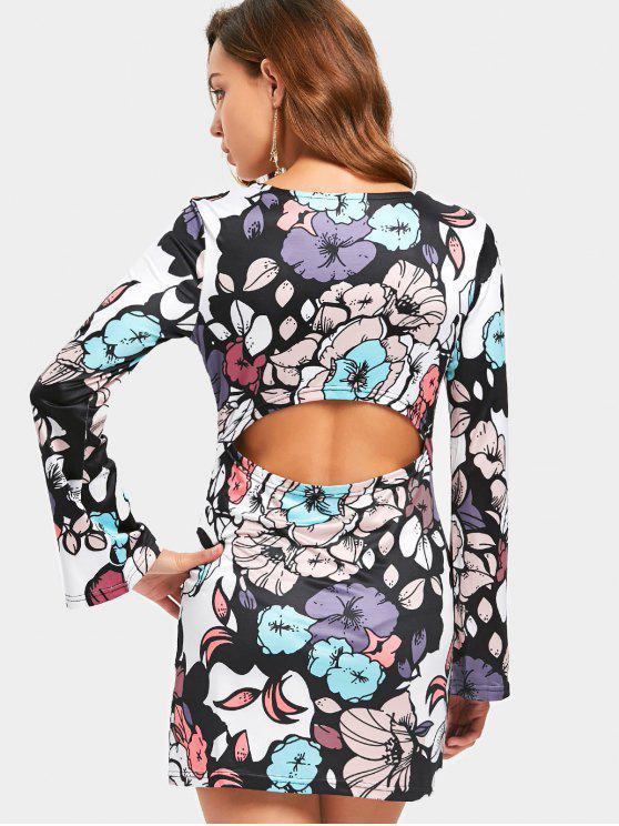 Blumiges bedrucktes Mini-Kleid - Blumen L