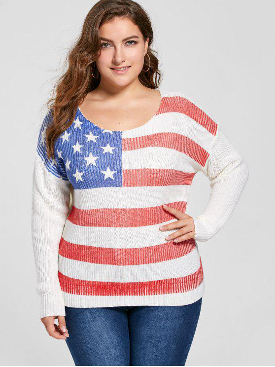 trendy Plus Size American Flag Sweater - WHITE 4XL