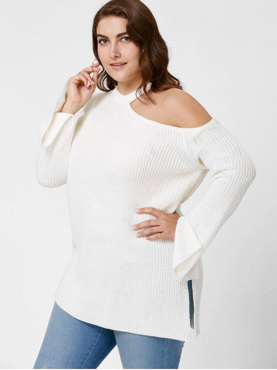 Plus Size Side Slit Cold Shoulder Sweater - Branco 5XL