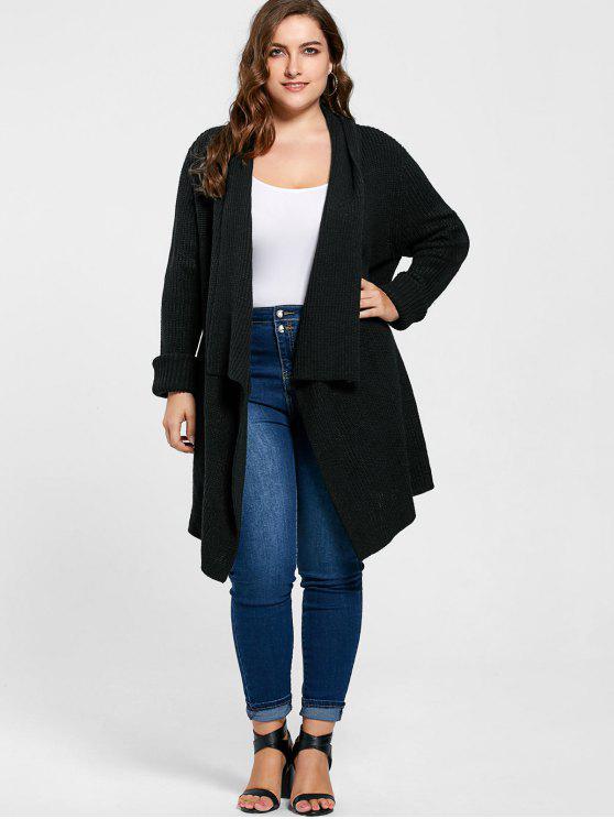 womens Plus Size Ribbed Drape Cardigan - BLACK 2XL