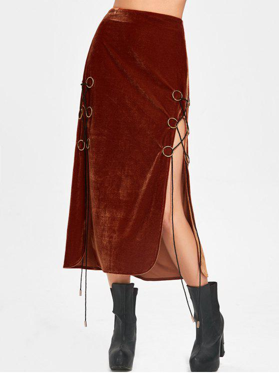 hot Lace Up High Slit Maxi Velvet Skirt - SUGAR HONEY M
