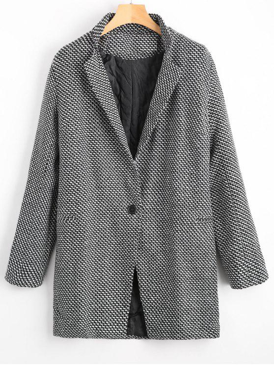shops One Button Graphic Lapel Coat - WHITE AND BLACK S