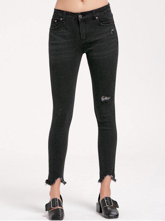 2018 skinny ripped frayed bleistift jeans von schwarz l zaful. Black Bedroom Furniture Sets. Home Design Ideas