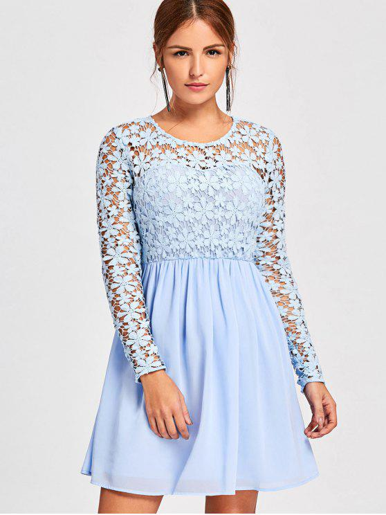 Long Sleeve Lace Panel Hollow Out Skater Dress