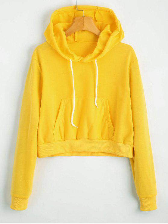 chic Front Pocket Drawstring Crop Hoodie - YELLOW S