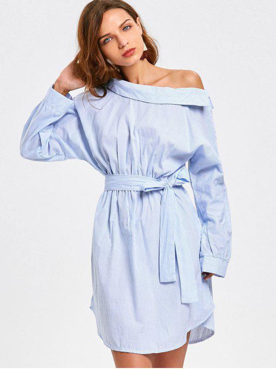 فستان مريح مخطط طويلة الأكمام بكتف واحد - شريط XL