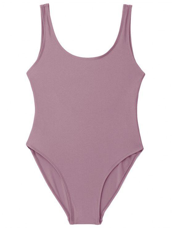 latest Low Back Shiny One Piece Swimwear - PALE PINKISH GREY S