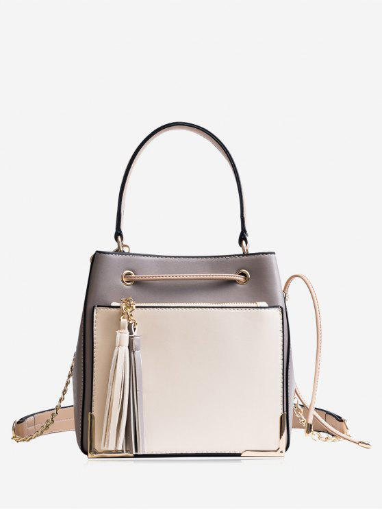 lady Tassel Metal Corner Drawstring Tote Bag - GRAY