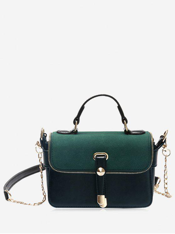 outfit Chain Zip Metal Handbag - GREEN