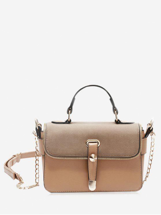 Chain Zip Metal Handbag - Khaki