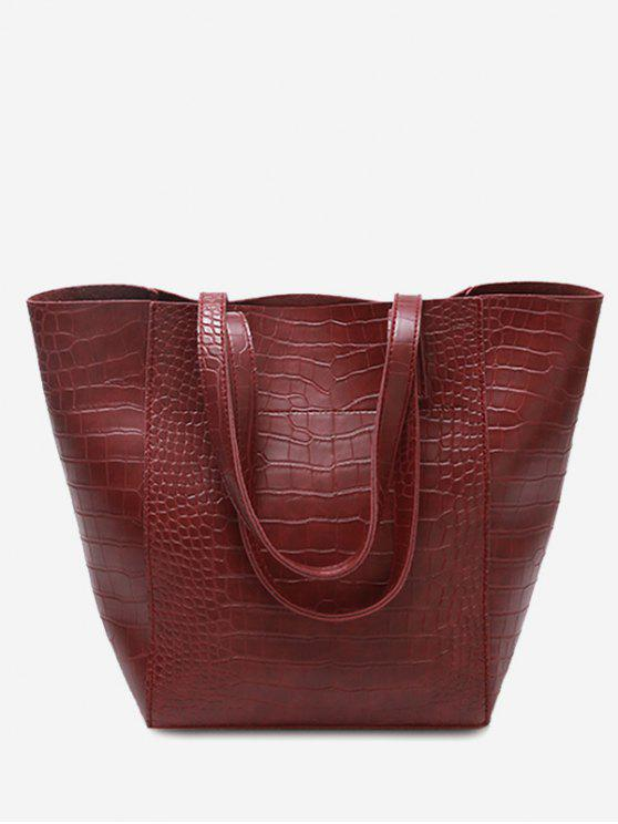 fancy PU Leather Embossed Pattern Shoulder Bag - RED