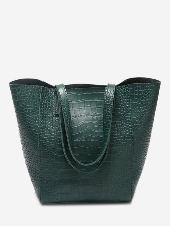 affordable PU Leather Embossed Pattern Shoulder Bag - GREEN