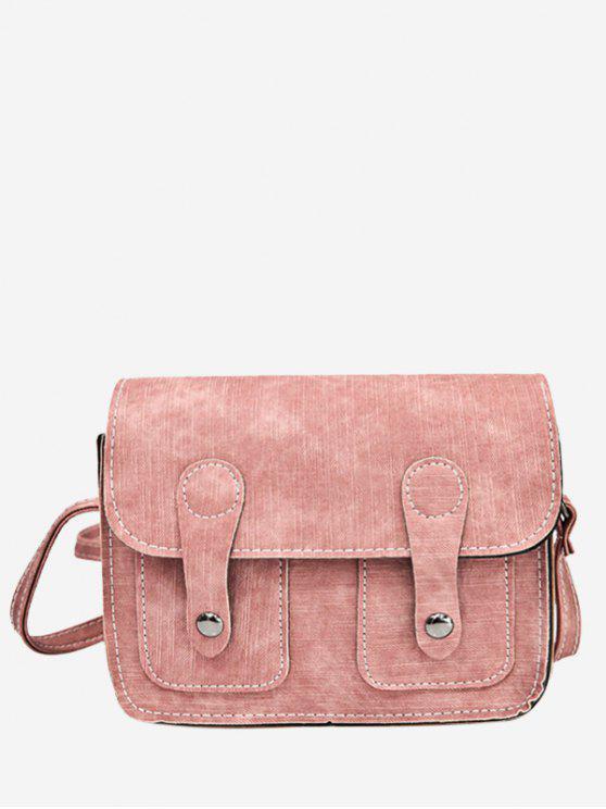womens Stitching Buckle Straps Crossbody Bag - PINK