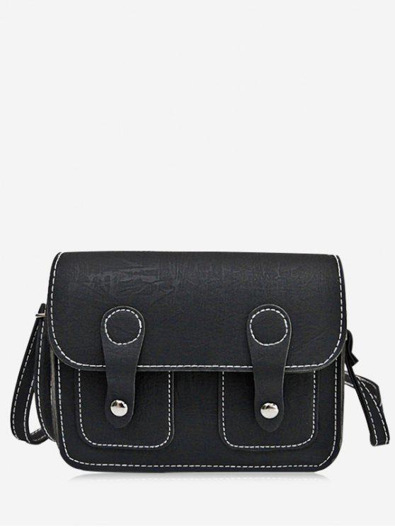 ladies Stitching Buckle Straps Crossbody Bag - BLACK