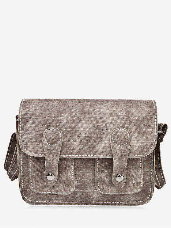 best Stitching Buckle Straps Crossbody Bag - BROWN
