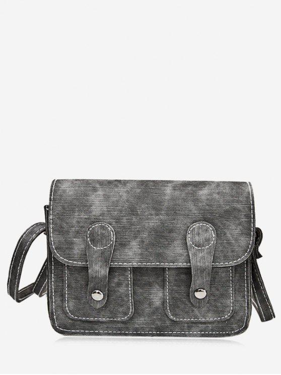 Stitching Buckle Straps Crossbody Bag - Gray