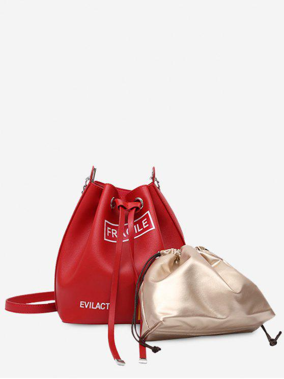 outfits Drawstring Letter PU Leather Crossbody Bag Set - RED