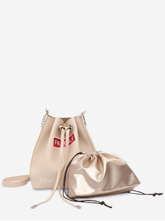 latest Drawstring Letter PU Leather Crossbody Bag Set - WHITE