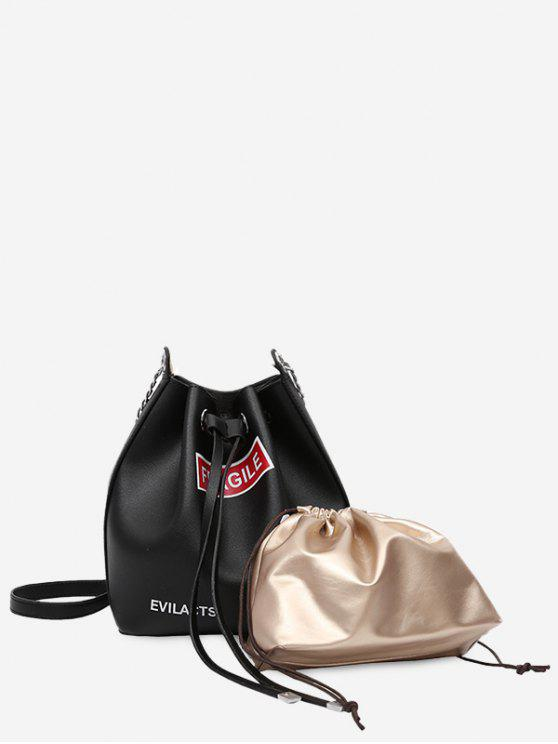 fashion Drawstring Letter PU Leather Crossbody Bag Set - BLACK