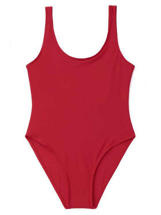 affordable U Back High Cut One Piece Swimwear - RED S