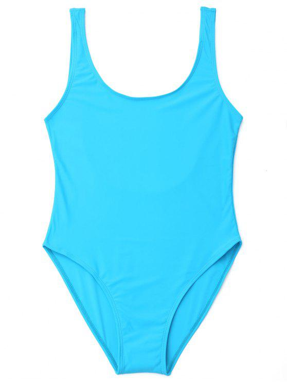 lady U Back High Cut One Piece Swimwear - LAKE BLUE L