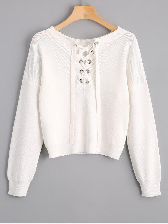 affordable Lace Up Drop Shoulder Knitted Top - WHITE ONE SIZE