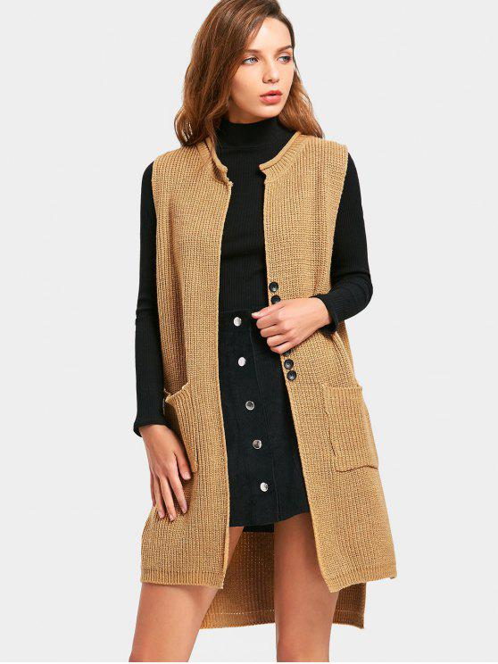 2639a402ef1 35% OFF  2019 Button Embellished Side Slit Sleeveless Cardigan In ...