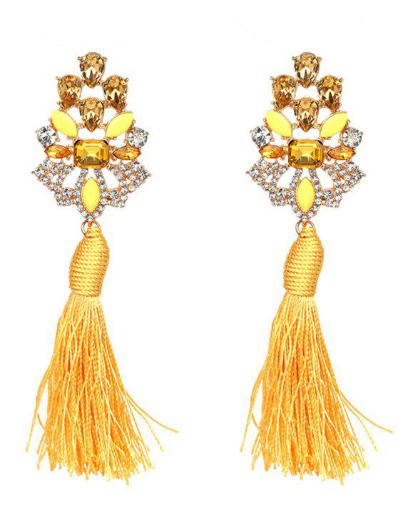Vintage Rhinestone Faux Crystal Tassel Earrings - Jaune