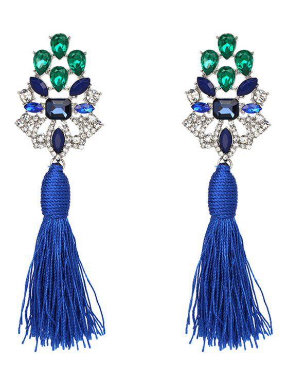 lady Vintage Rhinestone Faux Crystal Tassel Earrings - BLUE