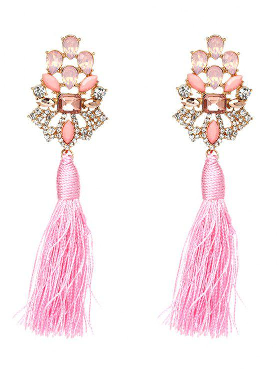 online Vintage Rhinestone Faux Crystal Tassel Earrings - PINK