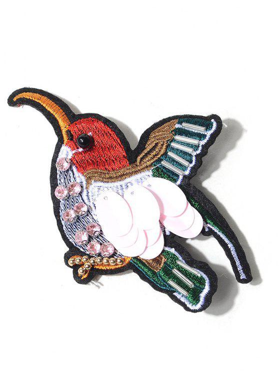 Brosche mit Strass und Vogelstickerei - COLORMIX