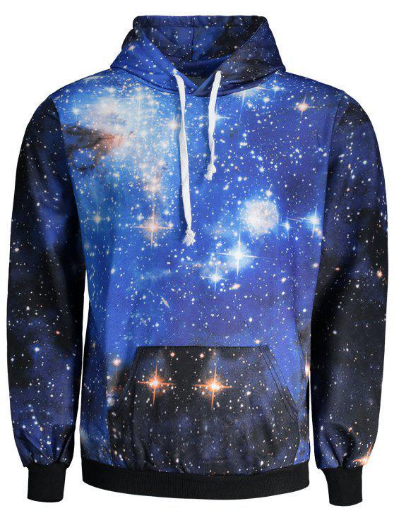 هوديي طباعة مجرة فلكية بجيب الكنغر - مزيج ملون L