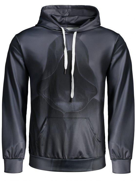 Sudadera con capucha de bolsillo impreso de canguro - Gris Carbón M