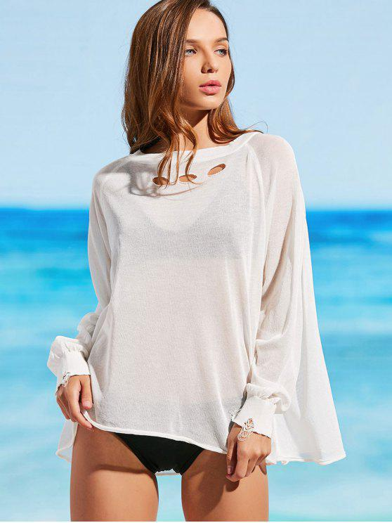 8ff6ed978f 25% OFF] 2019 Knitted Cutout Sheer Cover Up Top In OFF-WHITE   ZAFUL