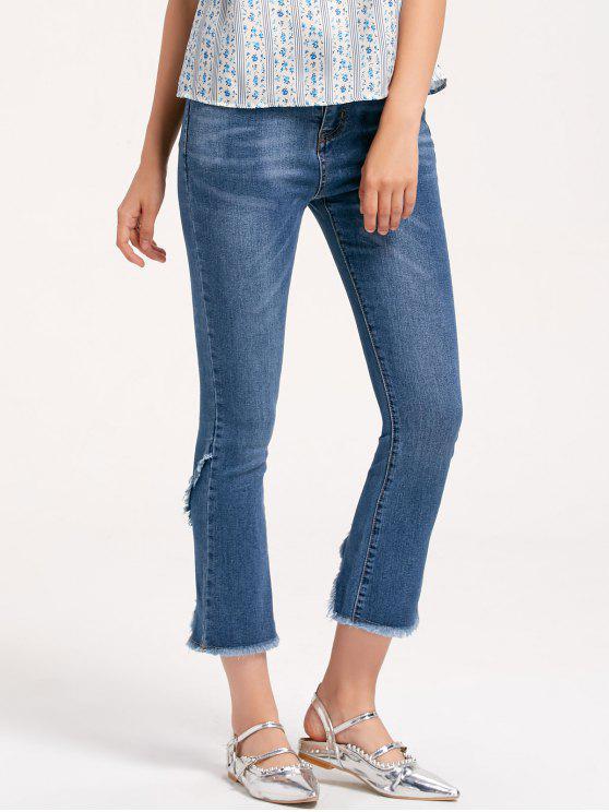 Frayed Slit Boot Cut Jeans - Denim Blau M