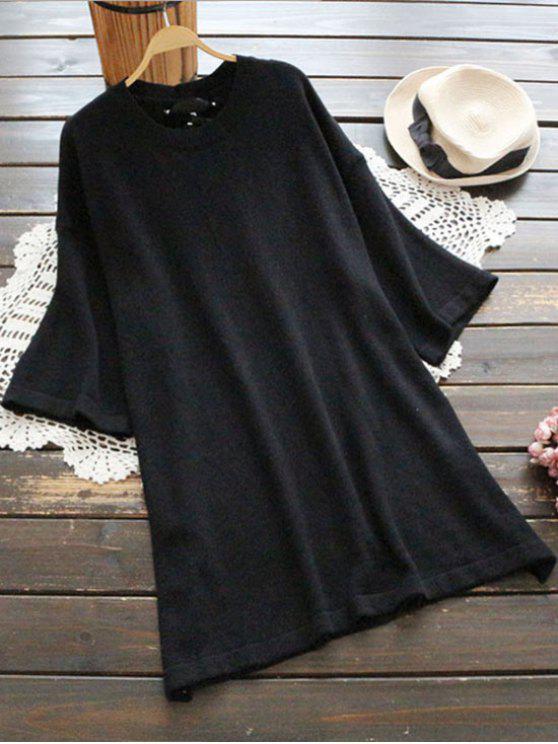 Pullover Kleid mit Schnürsenkel am Rücken und seitlichem Schlitz - Schwarz Eine Größe