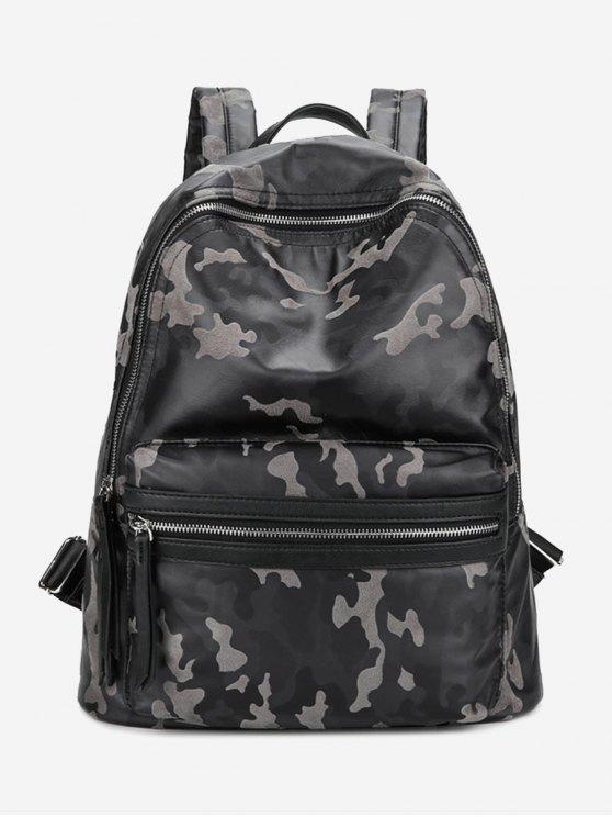 chic PU Leather Camouflage Pattern Backpack - GRAY