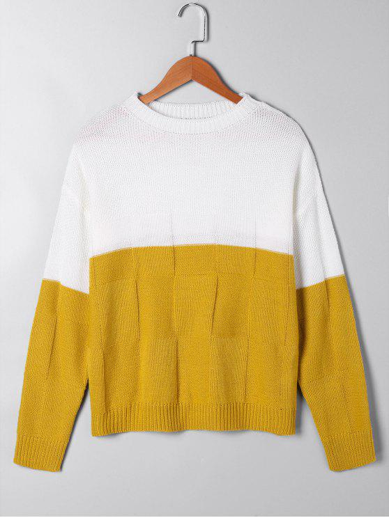 fashion Two Tone Open Knit Sweater - WHITE AND YELLOW S
