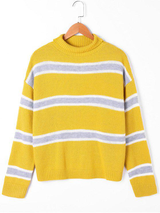 women Striped Drop Shoulder Turtleneck Sweater - YELLOW L