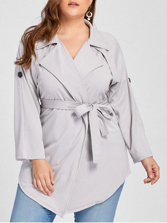 women Plus Size Lapel Wrap Trench Coat - GRAY 3XL