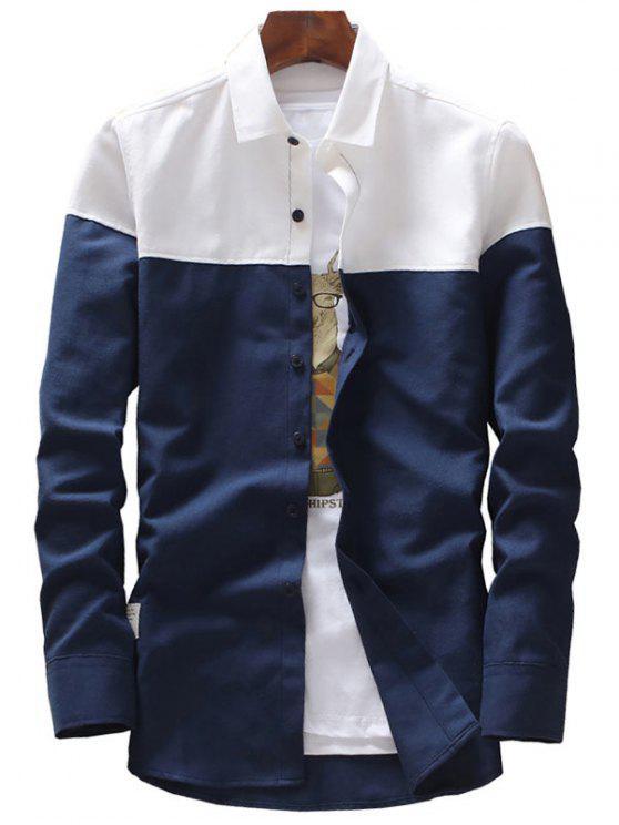 Camisa casual de manga comprida de dois tons - Azul Arroxeado XL
