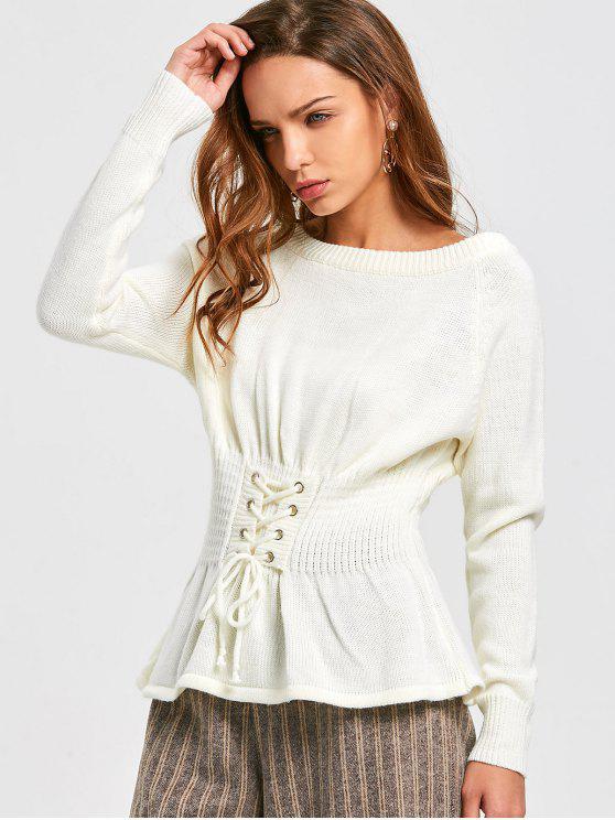Korsett Pullover mit Schnürsenkel - Weiß Eine Größe