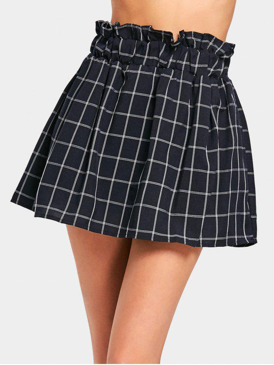 affordable High Waisted Mini Checked Skirt - CHECKED ONE SIZE