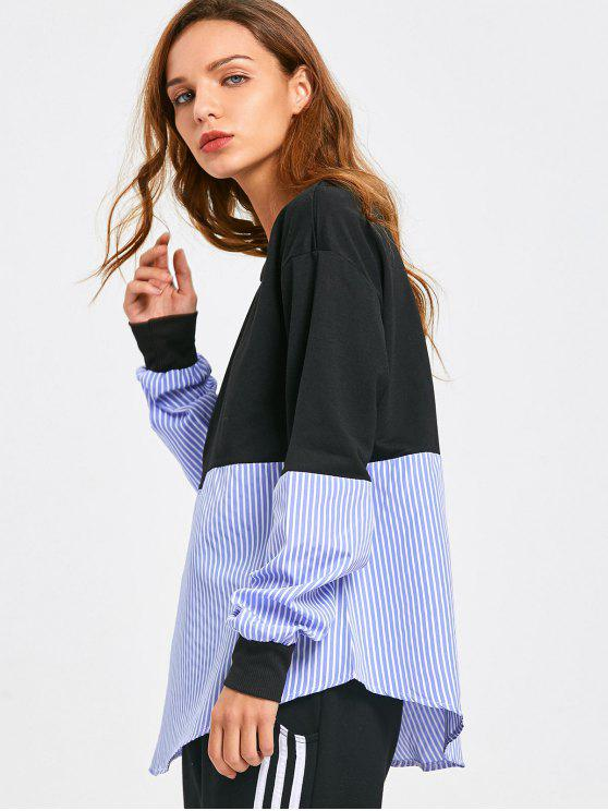 outfits Loose Contrasting Stripes Sweatshirt - STRIPE XL